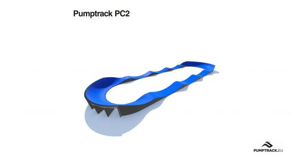 Render toru rowerowego typu Pumptrack PC2